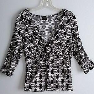 Tribal Black & White Print Knit Top